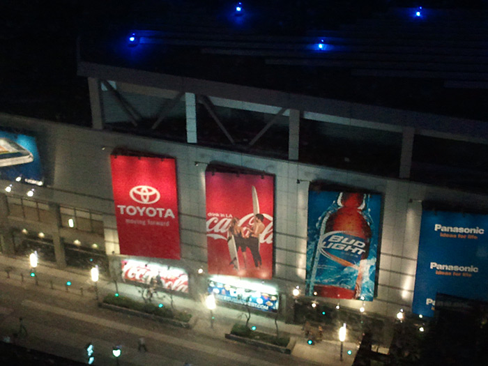 View across to the Staples Center.
