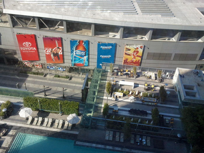Daytime view of the Staples Center from my hotel room.